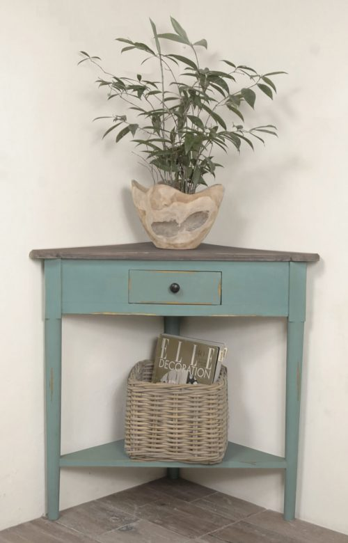 Shabby Chic Collection - Corner table with a drawer finished in distressed beach blue with a Raftwood top - room setting CC-TAB179TLD-BBRW