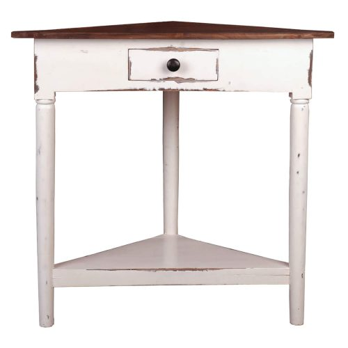 Shabby Chic Collection - Corner table with a drawer finished in distressed white with a Raftwood top - front view CC-TAB179TLD-WWRW