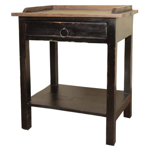 Shabby Chic Collection - Cottage table finished in two-toned walnut angled view CC-TAB153TLD-ABRW