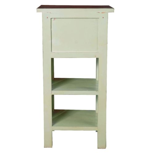 Shabby Chic Collection - End table finished in antique green with a Mahogany top - back view CC-TAB170TLD-BHRW