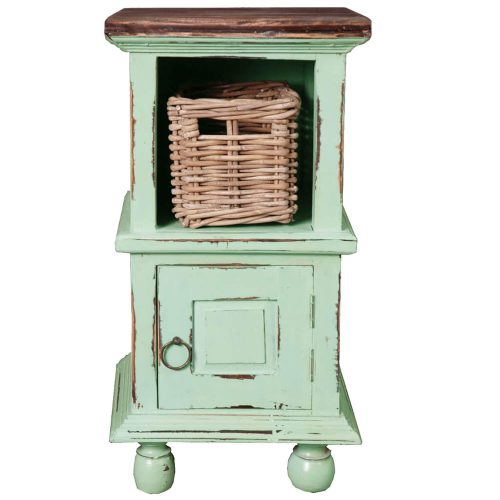 Shabby Chic Collection - End table finished in antique green with a Mahogany top front view with basket CC-TAB016TLD-TERW-B