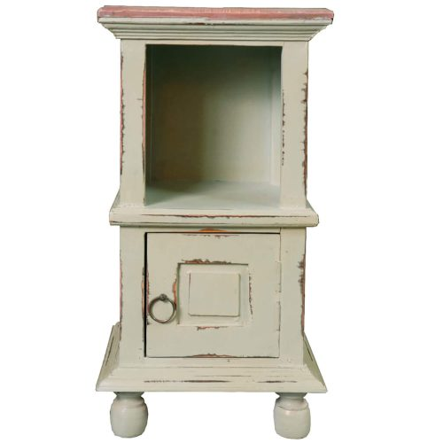 Shabby Chic Collection - End table finished in antique green with a Mahogany top front view without basket CC-TAB016TLD-CMRW-B