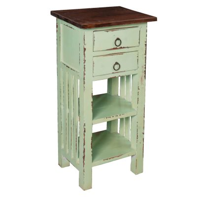Shabby Chic Collection - End table finished in antique green with a Mahogany top - three-quarter view CC-TAB170TLD-BHRW
