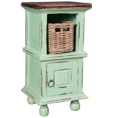 Shabby Chic Collection - End table finished in antique green with a Mahogany top three-quarter view with basket CC-TAB016TLD-TERW-B