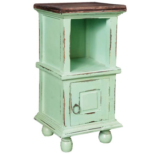 Shabby Chic Collection - End table finished in antique green with a Mahogany top three-quarter view without basket CC-TAB016TLD-TERW-B