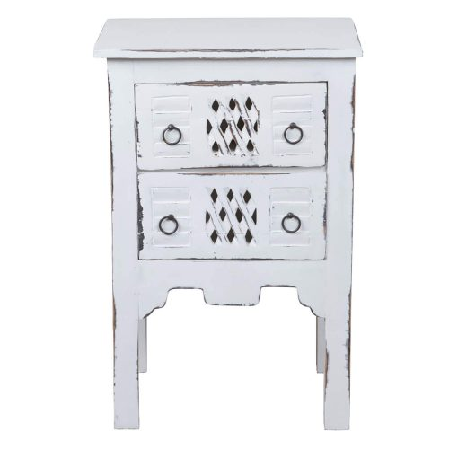 Shabby Chic Collection - End table finished in whitewash - front view CC-TAB098LD-WW