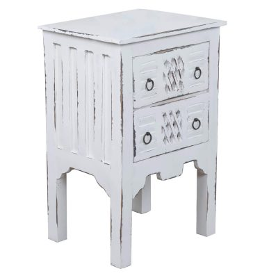 Shabby Chic Collection - End table finished in whitewash - three-quarter view CC-TAB098LD-WW