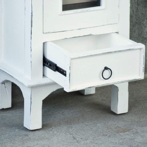 Shabby Chic Collection - End table with drawer and door finished in distressed white - detail of drawer CC-CHE324LD-WW