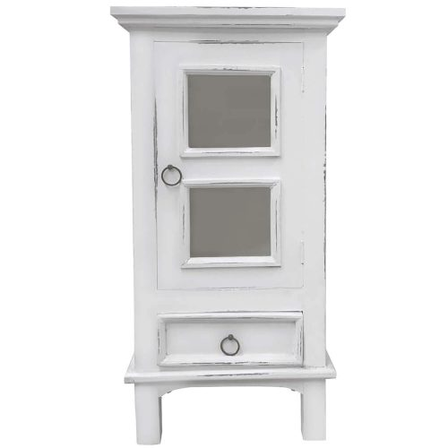 Shabby Chic Collection - End table with drawer and door finished in distressed white - front view CC-CHE324LD-WW
