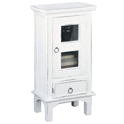 Shabby Chic Collection - End table with drawer and door finished in distressed white - three-quarter view CC-CHE324LD-WW