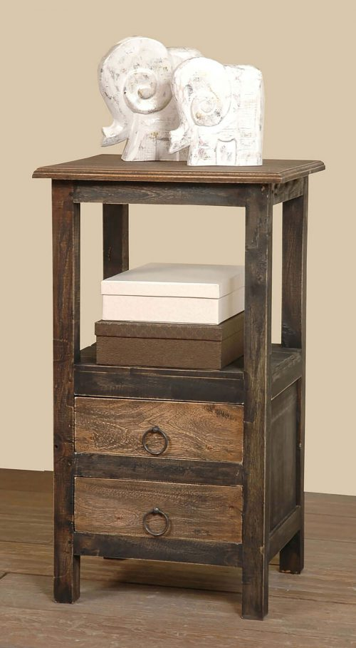Shabby Chic Collection - End table with two drawers in a rustic finish - room setting CC-TAB168TT-BWRW