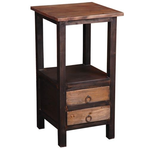 Shabby Chic Collection - End table with two drawers in a rustic finish - three-quarter view CC-TAB168TT-BWRW
