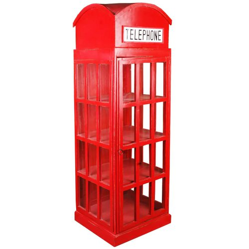 Shabby Chic Collection English Phone Booth Cabinet in Red Three-Quarter view CC-CAB064LD-RD