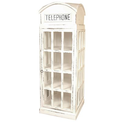 Shabby Chic Collection English Phone Booth Cabinet in white Three-Quarter view CC-CAB064LD-WW