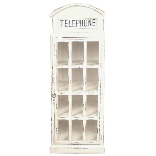 Shabby Chic Collection English Phone Booth Cabinet in white front view CC-CAB064LD-WW
