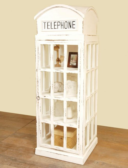 Shabby Chic Collection English Phone Booth Cabinet in white room setting CC-CAB064LD-WW