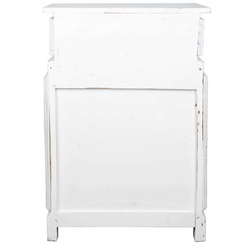 Shabby Chic Collection - English phone booth end-table finished in distressed white - Back view CC-CAB064SOLD-WW