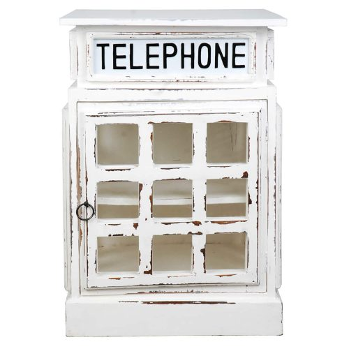 Shabby Chic Collection - English phone booth end-table finished in distressed white - Front view CC-CAB064SOLD-WW