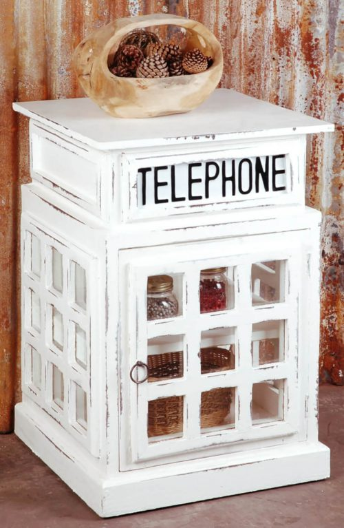 Shabby Chic Collection - English phone booth end-table finished in distressed white - Room setting CC-CAB064SOLD-WW