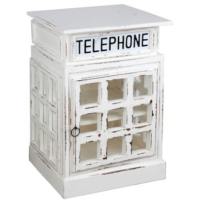 Shabby Chic Collection - English phone booth end-table finished in distressed white - Three-quarter view CC-CAB064SOLD-WW