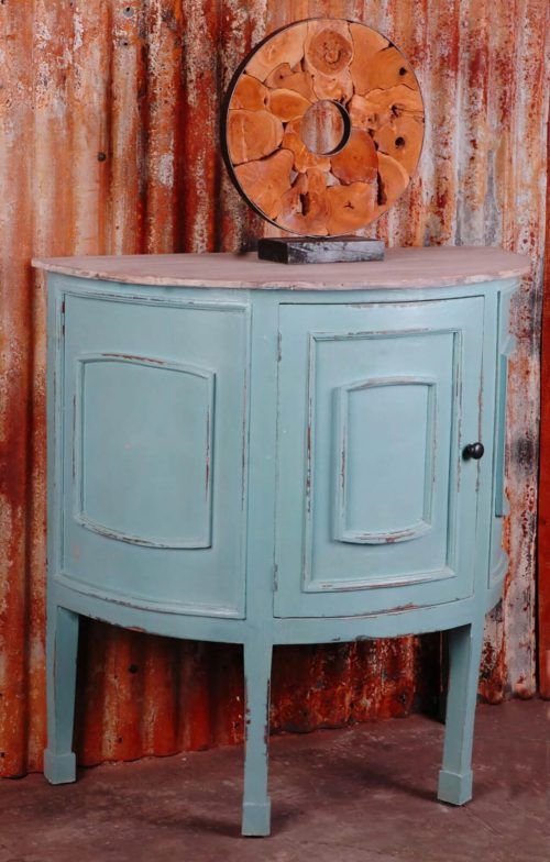 Shabby Chic Collection - Half-round cabinet finished in distressed beach blue with a Mahogany top - room setting CC-CHE090TLD-BBLW