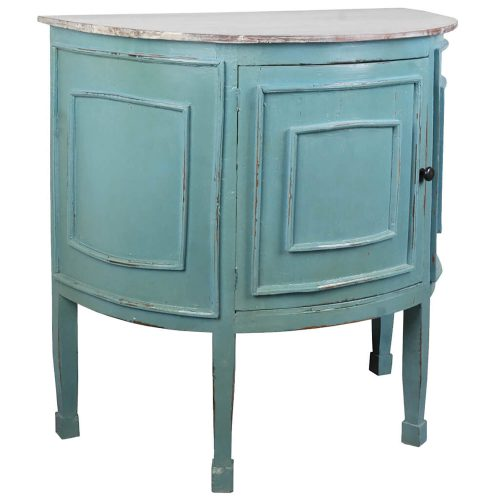Shabby Chic Collection - Half-round cabinet finished in distressed beach blue with a Mahogany top - three-quarter view CC-CHE090TLD-BBLW