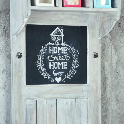 Shabby Chic Collection - Hall tree with chalkboard finished in a Gray wash - detail of chalkboard - CC-CAB251S-SW