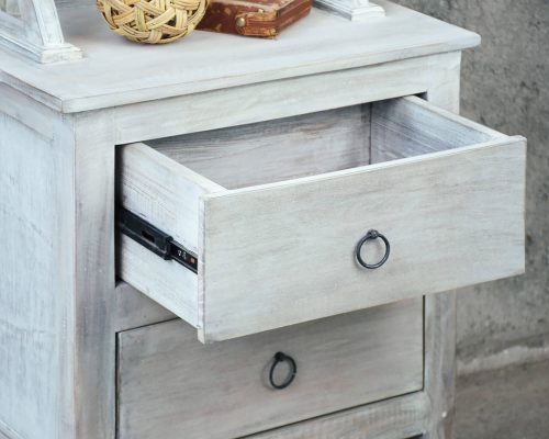 Shabby Chic Collection - Hall tree with chalkboard finished in a Gray wash - detail with drawer open - CC-CAB251S-SW