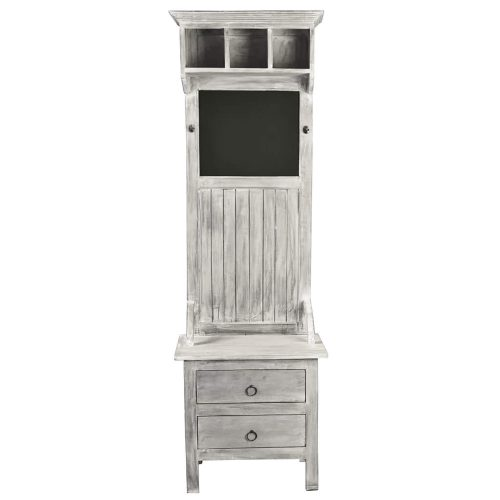 Shabby Chic Collection - Hall tree with chalkboard finished in a Gray wash - front view - CC-CAB251S-SW