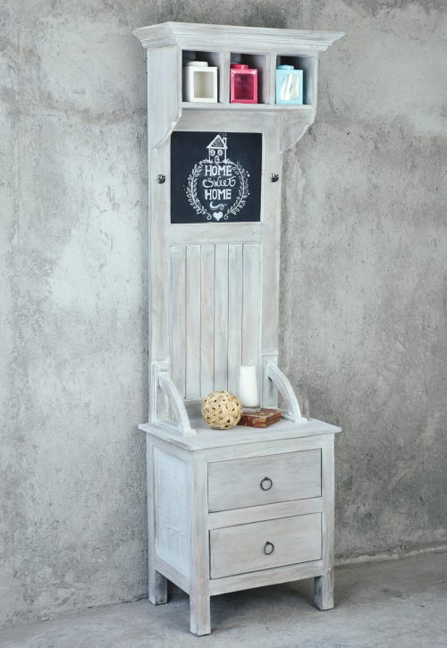 Shabby Chic Collection - Hall tree with chalkboard finished in a Gray wash - room setting - CC-CAB251S-SW