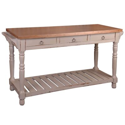 Shabby Chic Collection - Kitchen Island - Sideboard - finished in distressed gray with a plantation Mahogany top - three-quarter view CC-TAB183TLD-CSSV