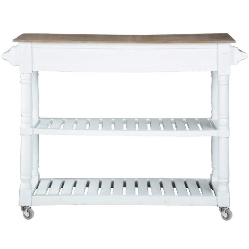 Shabby Chic Collection - Kitchen Island cart with drawers and shelves - finished in distressed white with a natural top - back view CC-TAB192TLD-WWCFSV