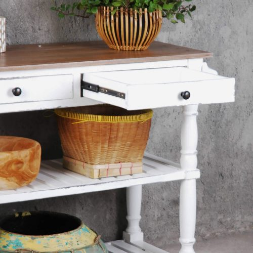 Shabby Chic Collection - Kitchen Island cart with drawers and shelves - finished in distressed white with a natural top - detail of open drawer CC-TAB192TLD-WWCFSV