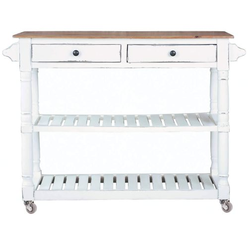 Shabby Chic Collection - Kitchen Island cart with drawers and shelves - finished in distressed white with a natural top - front view CC-TAB192TLD-WWCFSV