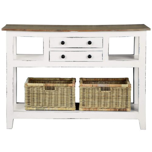 Shabby Chic Collection - Kitchen Island cart with drawers and shelves - finished in distressed white with a natural top - front view CC-TAB2227TLD-WWSV-B