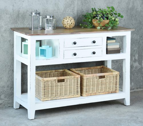 Shabby Chic Collection - Kitchen Island cart with drawers and shelves - finished in distressed white with a natural top - room setting CC-TAB2227TLD-WWSV-B