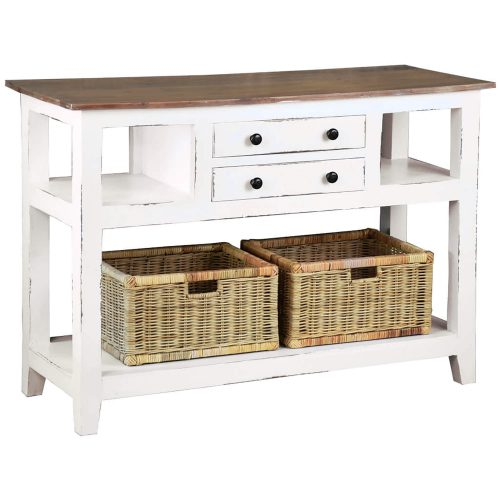Shabby Chic Collection - Kitchen Island cart with drawers and shelves - finished in distressed white with a natural top - three-quarter view CC-TAB2227TLD-WWSV-B