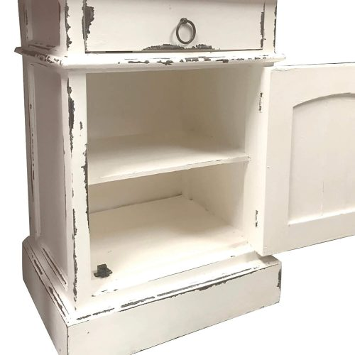 Shabby Chic Collection - Nightstand finished in a whitewash - detail with door open CC-CHE551LD-WW