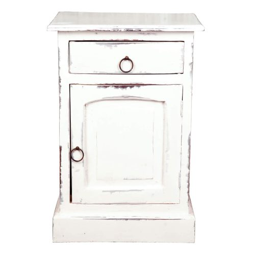 Shabby Chic Collection - Nightstand finished in a whitewash - front view CC-CHE551LD-WW