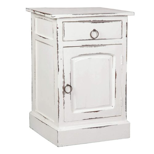 Shabby Chic Collection - Nightstand finished in a whitewash - three-quarter view CC-CHE551LD-WW