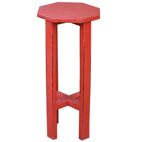 Shabby Chic Collection - Octagon side table finished in antique red - side view CC-TAB500LD-AR