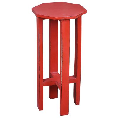 Shabby Chic Collection - Octagon side table finished in antique red - three-quarter view CC-TAB500LD-AR