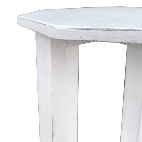 Shabby Chic Collection - Octagon side table finished in whitewash - detail of top CC-TAB500LD-WW