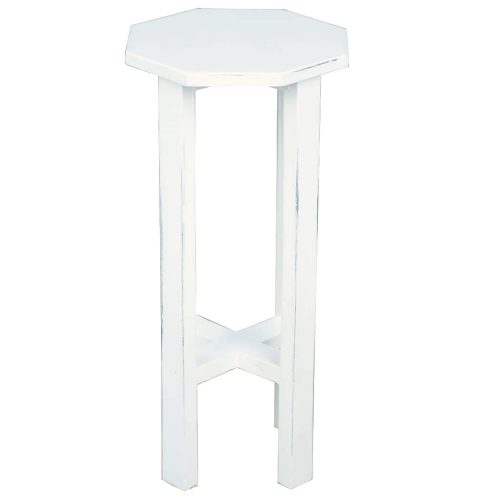 Shabby Chic Collection - Octagon side table finished in whitewash - side view CC-TAB500LD-WW