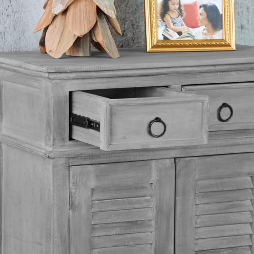Shabby Chic Collection - Shutter cabinet finished in a Gray wash - detail with open drawer CC-CAB246S-SW