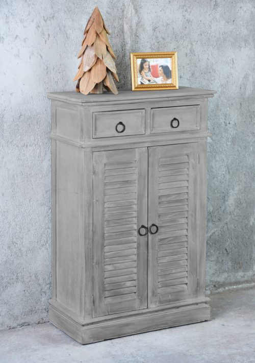 Shabby Chic Collection - Shutter cabinet finished in a Gray wash - room setting CC-CAB246S-SW
