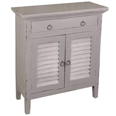 Shabby Chic Collection - Shutter cabinet finished in whitewash three-quarter view CC-CHE059LD-AG