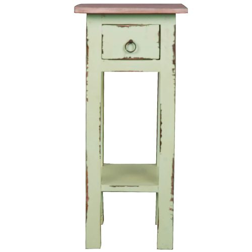 Shabby Chic Collection - Side table finished in Limewash with a Bahama wood top - front view CC-TAB1792TLD-BHLW