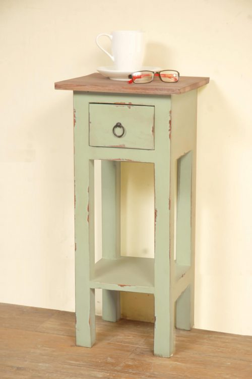 Shabby Chic Collection - Side table finished in Limewash with a Bahama wood top - room setting CC-TAB1792TLD-BHLW