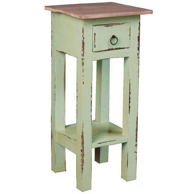 Shabby Chic Collection - Side table finished in Limewash with a Bahama wood top - three-quarter view CC-TAB1792TLD-BHLW